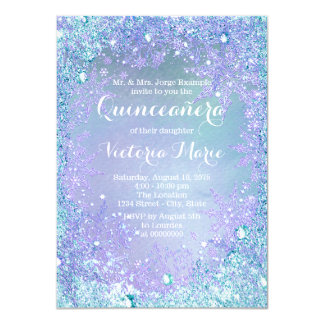 Frozen Winter Wonderland Pruple Teal Quinceanera 11 Cm X 16 Cm Invitation Card