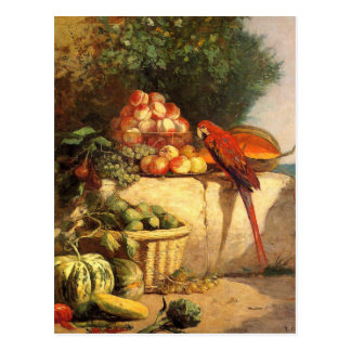 Fruit and Vegetables with a Parrot by Eugene Boudi Postcard