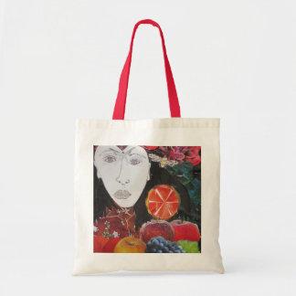 Fruit Bag, orange, apple, grapes, face Tote Bag
