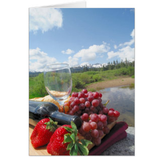 Fruit Bread And Wine Picnic Card
