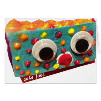 fruitcake cake face with logo card