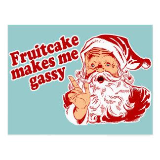 Fruitcake Makes Santa Gassy Postcard