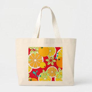 Fruity orange slices & blue birds jumbo tote bag