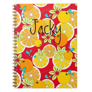 Fruity orange slices & blue birds spiral note book
