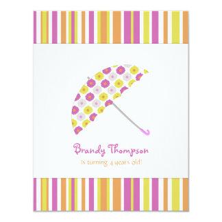 Fruity Stripes Umbrella Birthday Party Invitation