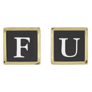 FU cufflinks Gold Finish Cufflinks