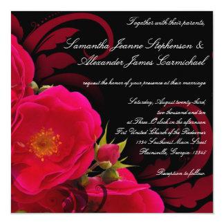 Fuchsia and Black Garden Rose with Swirl Square 13 Cm X 13 Cm Square Invitation Card