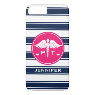 FUCHSIA AND NAVY STRIPE PHYSICAL THERAPY PT iPhone 8 PLUS/7 PLUS CASE