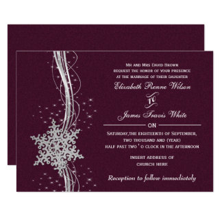 fuchsia and silver winter wedding invitations