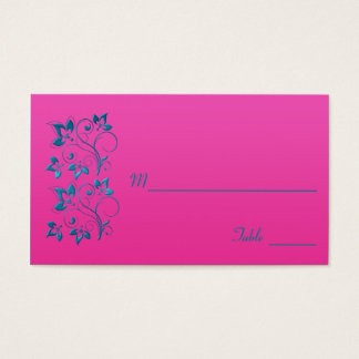 Fuchsia and Turquoise Floral Placecard