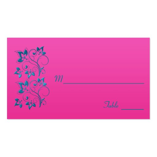 Fuchsia and Turquoise Floral Placecard Business Card