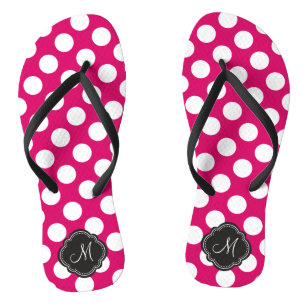 Fuchsia and White Polka Dots with Monogram Jandals