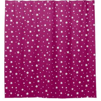 Fuchsia and White Stars Celestial Sky Shower Curtain