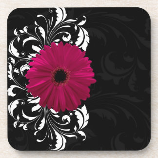 Fuchsia, Black/White Gerbera Daisy Coaster