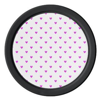 Fuchsia Glitter Hearts Pattern Poker Chips