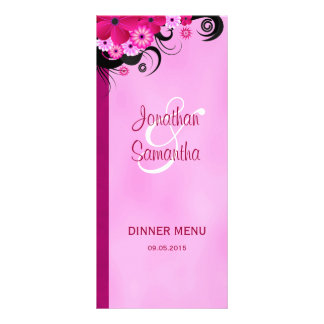 Fuchsia Hibiscus Floral Wedding Dinner Menu Cards Personalized Rack Card