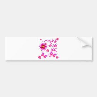 Fuchsia Pink Dahlia's & Butterflies white Pattern Bumper Sticker