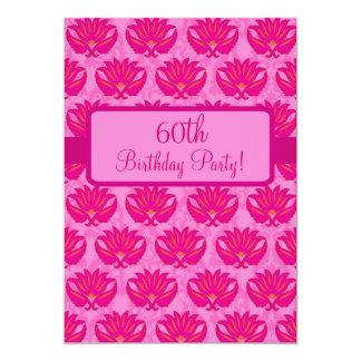 Fuchsia Pink Parisian Damask 60th Birthday Party Card