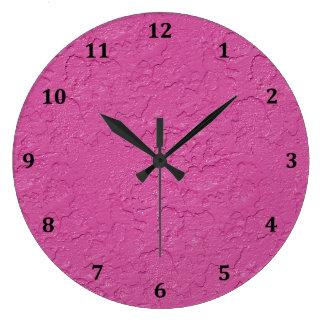Fuchsia Pink Stucco Look Large Clock