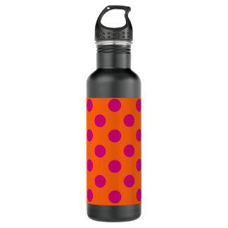 Fuchsia polka dots on orange 710 ml water bottle