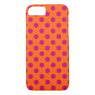 Fuchsia polka dots on orange iPhone 7 case