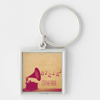 Fuchsia Vintage Gramophone Premium Keychain