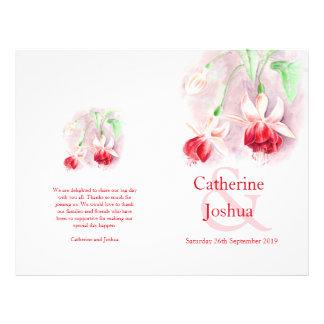 Fuchsia watercolor red pink Wedding Programme 21.5 Cm X 28 Cm Flyer