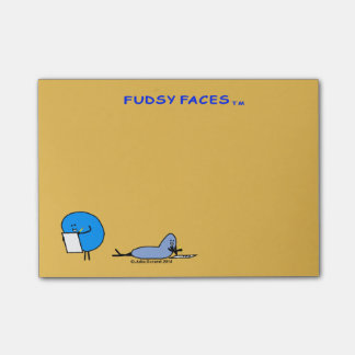 """Fudsy Faces""-Adhesive Note Pad, Mustard"