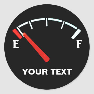 Fuel Gauge Gas Tank Full/Empty (personalised) Classic Round Sticker