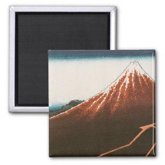 Fuji above the Lightning' Square Magnet