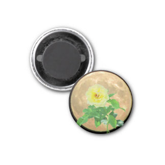 Full Moon and Yellow  Rose Bloom Silhouette Magnet