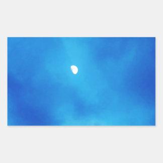 Full Moon Bright Blue Clouds Rectangular Sticker