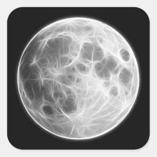 Full Moon Lunar Planet Globe Square Sticker