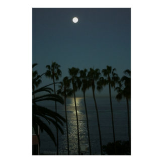 Full Moon Over Water Poster