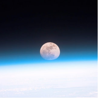 Full moon partially obscured by atmosphere standing photo sculpture
