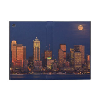 Full moon rising over downtown Seattle skyline iPad Mini Cover
