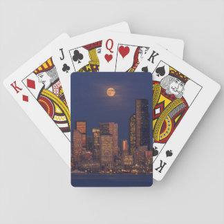 Full moon rising over downtown Seattle skyline Playing Cards