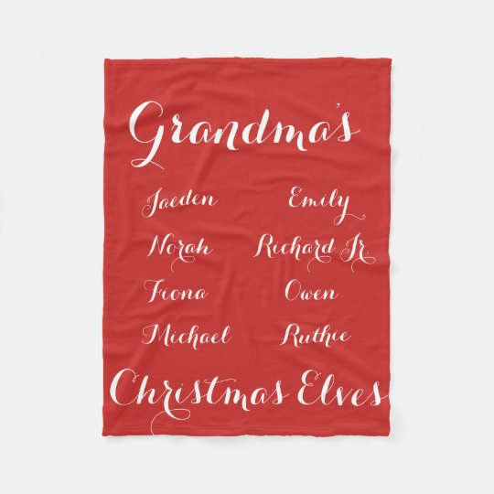 Fully Cutomizable Grandkids Christmas Elves Fleece Blanket