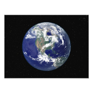 Fully lit Earth centered on North America Photo Art