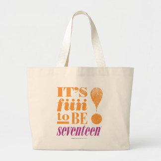 Fun 2 B 17-Orange Large Tote Bag