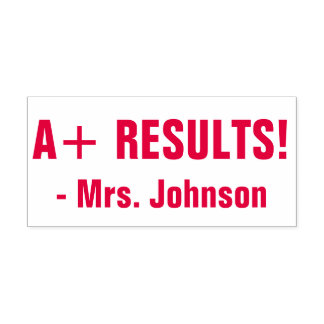 "Fun ""A+ RESULTS!"" Acknowledgement Rubber Stamp"