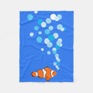 Fun and Cute Clownfish and Bubbles Fleece Blanket
