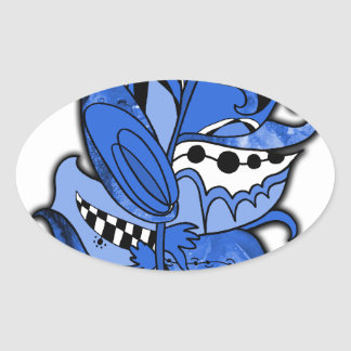 Fun and Funky Feather Series Blue Doodle Oval Sticker