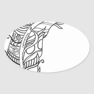 Fun and Funky Feather Series Oval Sticker
