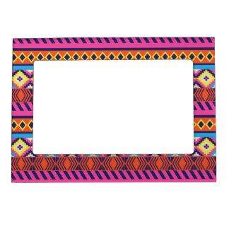 Fun Aztec Tribal Borders Magnetic Picture Frame