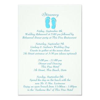 Fun Beach Flip Flops Blue Wedding Intinerary 9 Cm X 13 Cm Invitation Card