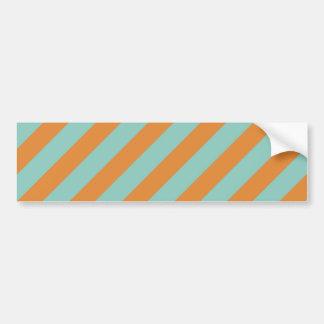 Fun Blue and Orange Diagonal Stripes Pattern Bumper Sticker
