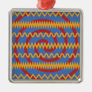 Fun Blue Orange Swirls and Chevron Zigzags Pattern Christmas Ornament