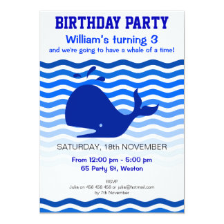Fun blue whale in blue waves party card