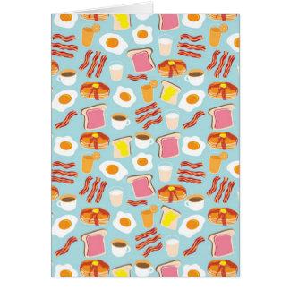 Fun Breakfast Food Illustrations Pattern Card